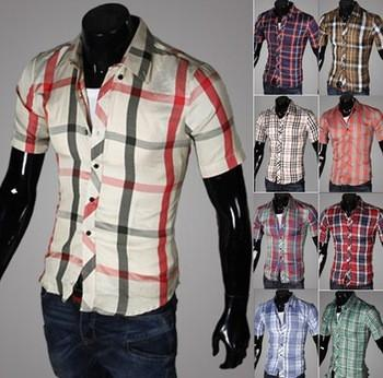 Men's Short Sleeve Plaid Shirt - TrendSettingFashions   - 1