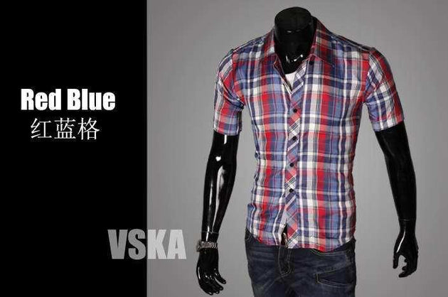 Men's Short Sleeve Plaid Shirt - TrendSettingFashions