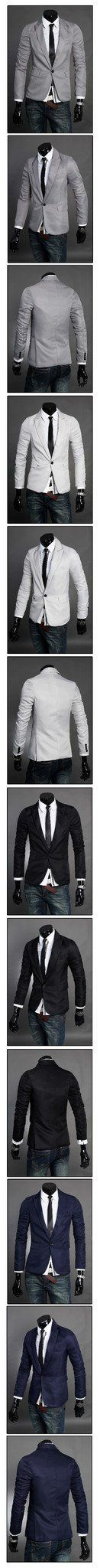 Men's Solid Color Suit Jacket - TrendSettingFashions   - 2