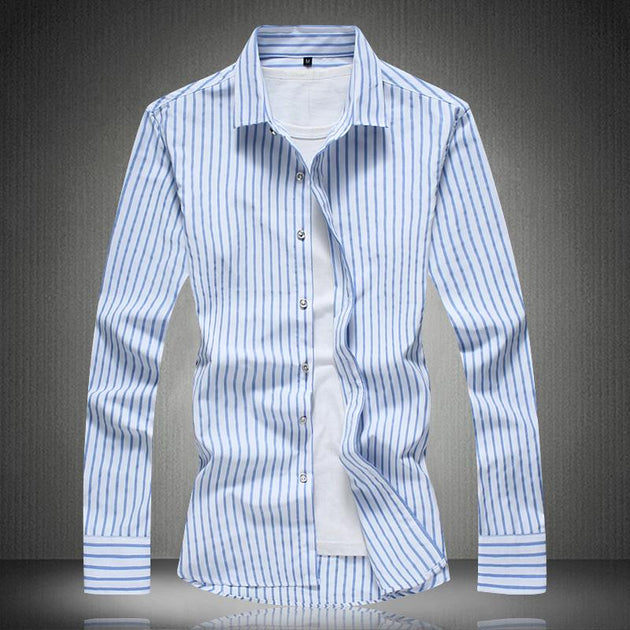 Men's Fashion Striped Dress Shirt - TrendSettingFashions