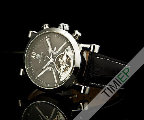 Men's Black Band Heavy Silver Trim Dress Watch - TrendSettingFashions