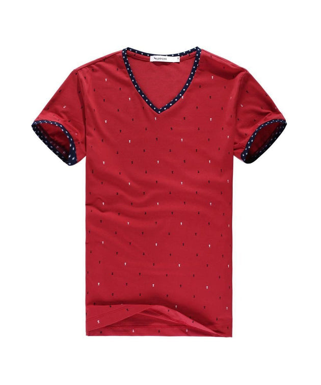 Men's Color Point Top V-Neck T-Shirt - TrendSettingFashions
