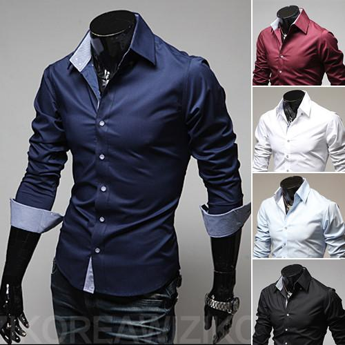 Men's 2 Tone Dress Shirt Roll up Sleeves - TrendSettingFashions