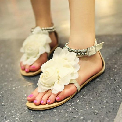 Women's Sweet Flower Metal Beaded Sandal - TrendSettingFashions