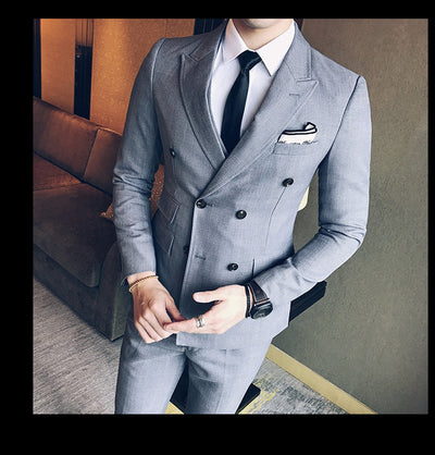 Men's Double Breasted 3 Piece Suit In 3 Colors Up To Size 3XL