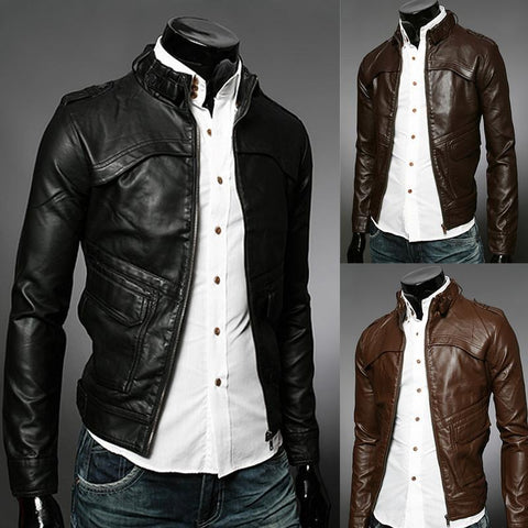 Men's Faux Leather Fashion Zipper Rider Jacket