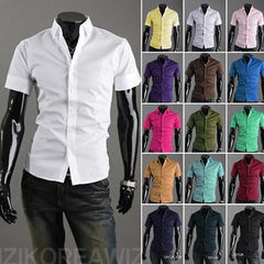 Short Sleeve Solid Business Men Shirt - TrendSettingFashions   - 1