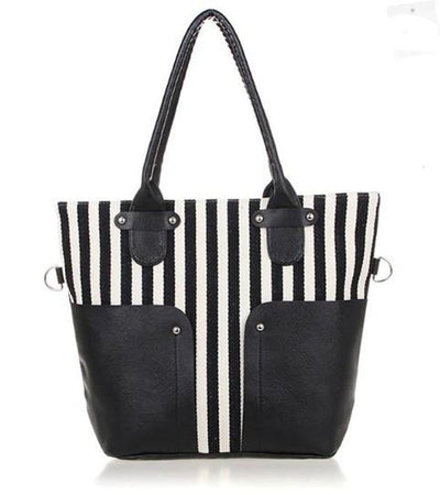Women's Navy Style Striped Canvas Shoulder Bag - TrendSettingFashions