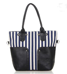 Navy Style Striped Women's Canvas Shoulder Bag - TrendSettingFashions   - 2