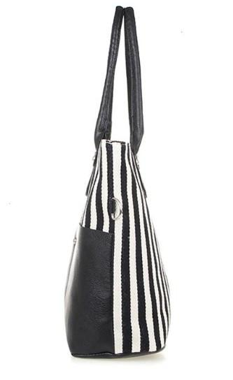 Navy Style Striped Women's Canvas Shoulder Bag - TrendSettingFashions   - 3