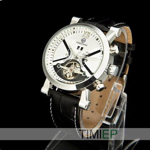 Men's Black Band Heavy Silver Trim/White Dial Dress Watch