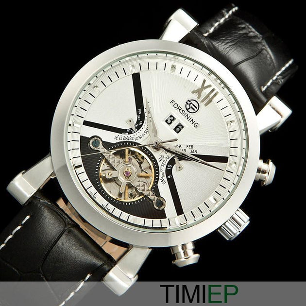 Men's Black Band Heavy Silver Trim/White Dial Dress Watch - TrendSettingFashions