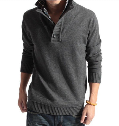 Men's Stand Collar Faux Sweater - TrendSettingFashions