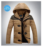 Men's OX Horn Button Thick Cotton Hooded Jacket - TrendSettingFashions