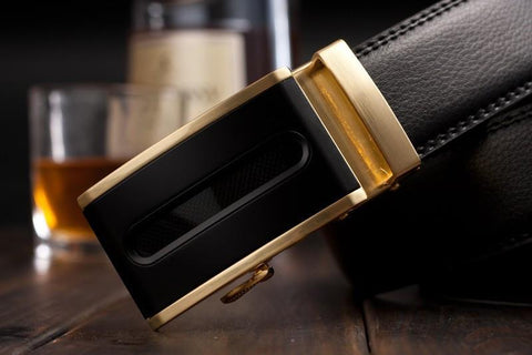 Genuine Leather Belt Gold and Black Style 2
