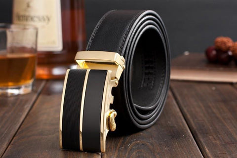 Genuine Leather Belt Gold and Black