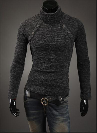 Men's Turtleneck Chest Button Sweater - TrendSettingFashions