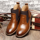Genuine Leather Fashion Mens Brogue Boots - TrendSettingFashions