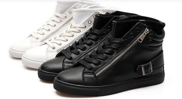 Men Casual Flat High Top Sneakers - TrendSettingFashions