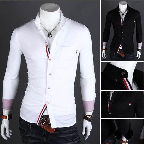 Men's High Collared Dress Shirt - TrendSettingFashions   - 1