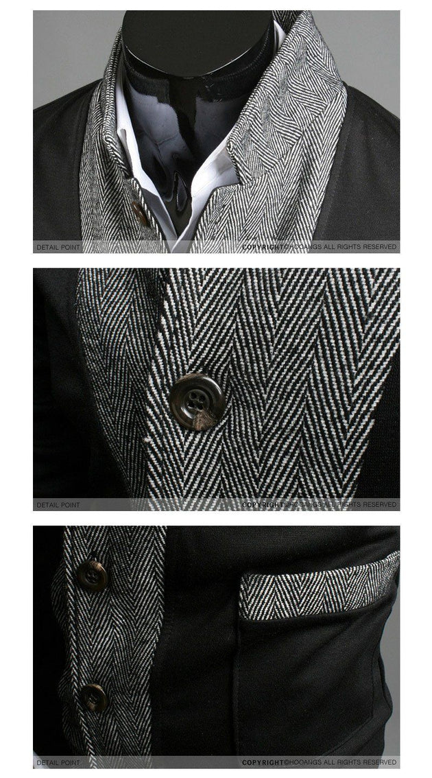 Men's Multi Button High Collar Jacket - TrendSettingFashions