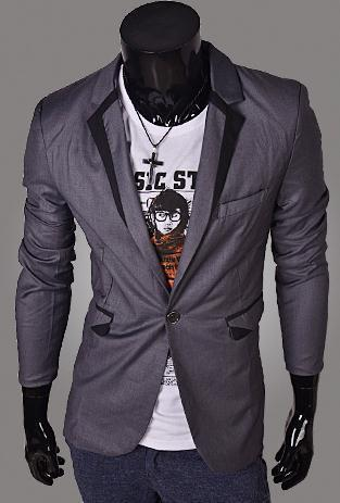 Men's Jacket with Matching Collar, Colored Trim - TrendSettingFashions