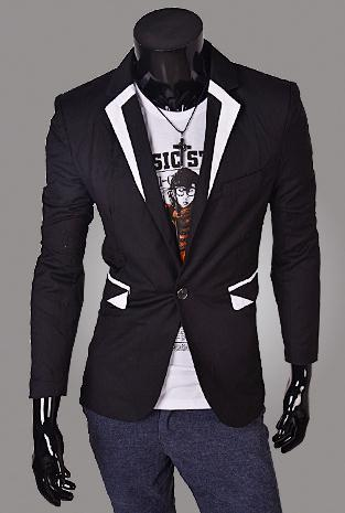Men's Jacket with Matching Collar, Colored Trim - TrendSettingFashions   - 3
