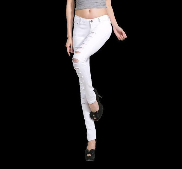 Women's Cotton Denim Ripped Punk Cut-Out Jeans - TrendSettingFashions