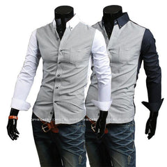 Men's 2 Color Fashion Dress Shirt - TrendSettingFashions