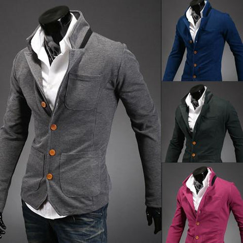 Men's Button Up High Collar Sweater