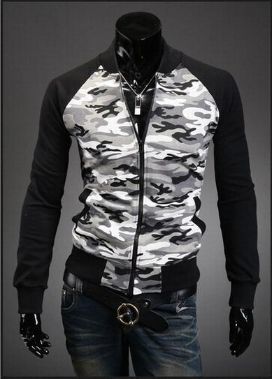 Men's Full Zip Camo Hoodie With Black - TrendSettingFashions