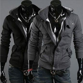 Men's Full Zip Hoodie With Button Collar - TrendSettingFashions