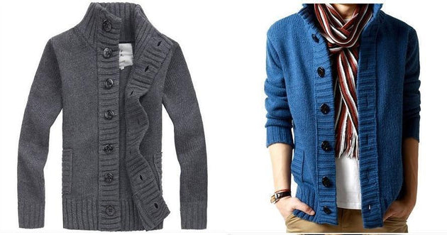 Men's Full Button High Collar Sweater - TrendSettingFashions
