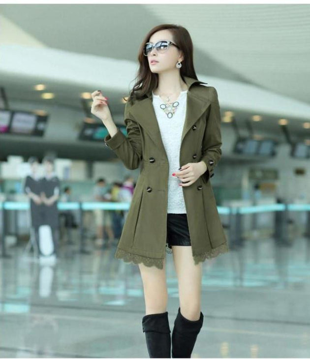 Women's Fashion Trench Style Coat With 5 Color Options - TrendSettingFashions