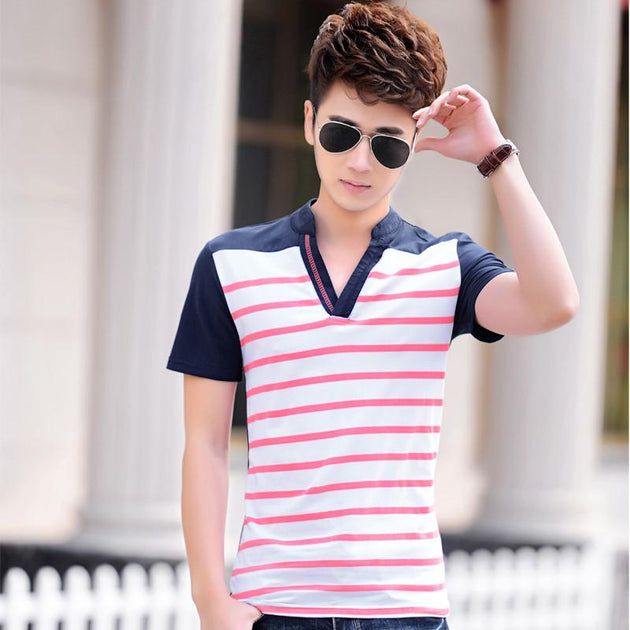 Men's Short Sleeve Striped Shirt - TrendSettingFashions