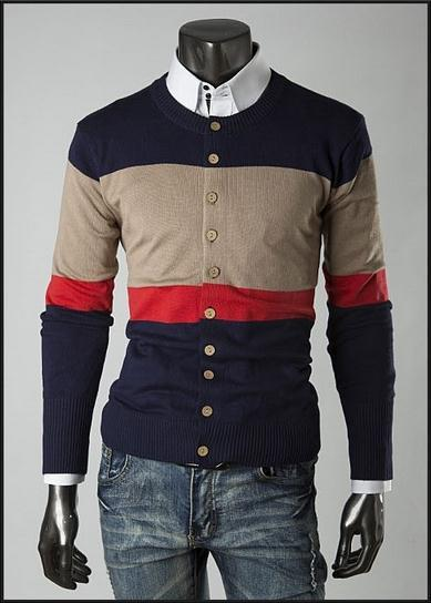 Men's 3 Tone Button Up Sweater - TrendSettingFashions