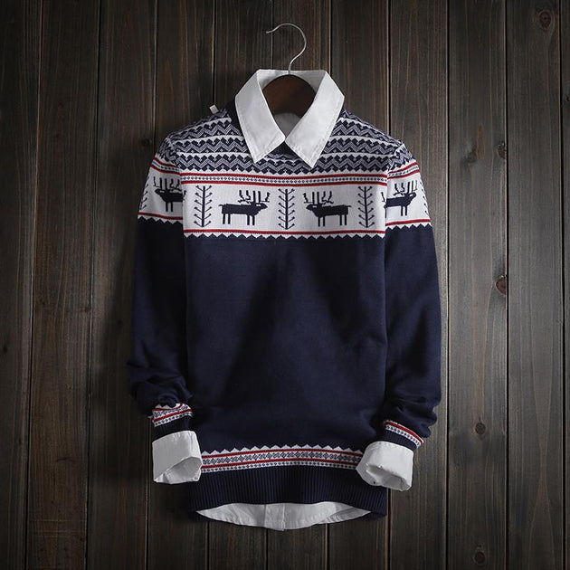 Men's Stylish Deer Print Sweater - TrendSettingFashions