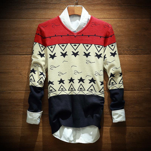 Men's Star Design Sweater - TrendSettingFashions