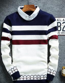 Men's Striped Collar Sweater - TrendSettingFashions
