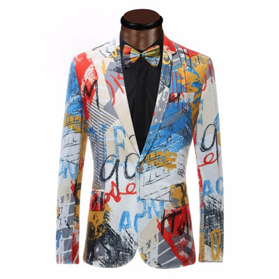Men's Colored Painted Blazer Up To 6XL - TrendSettingFashions   - 1