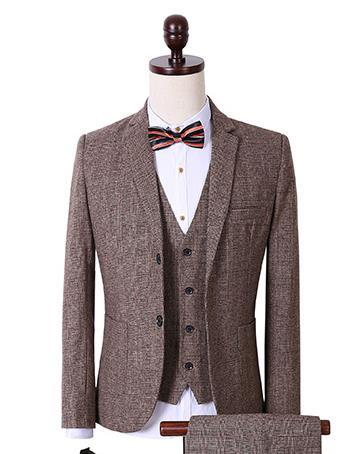 Men's Fashion Brown 3 Piece Suit Up To 3XL - TrendSettingFashions