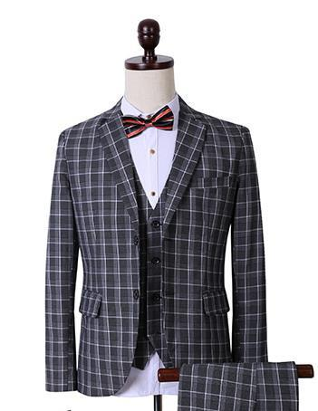 Men's Fashion Dark Grey Plaid 3 Piece Suit Up To 3XL - TrendSettingFashions
