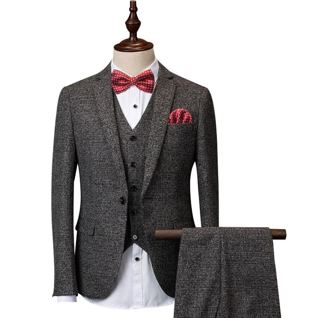 Men's 3 Peice Jacket+Pants+Vest Dark Grey Business Suit - TrendSettingFashions