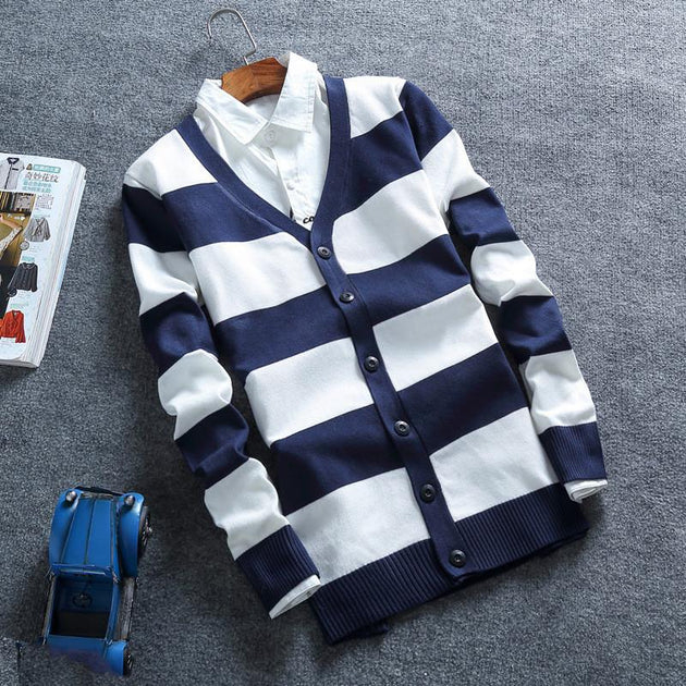 Men's Striped Button Up Cardigan - TrendSettingFashions