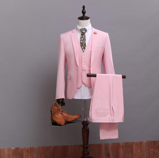 Custom Made Pink Suit Up To 5XL(Jacket+Pants+Tie+Vest) - TrendSettingFashions