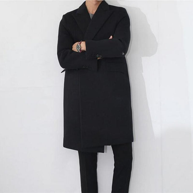 Men's Long Cashmere Button Up Coat Up To 2XL - TrendSettingFashions