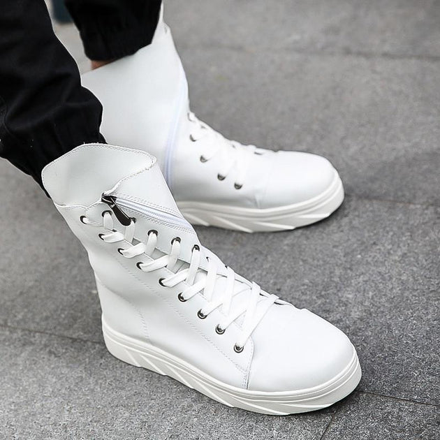 Men's High Top Side Solid Lace-ups - TrendSettingFashions