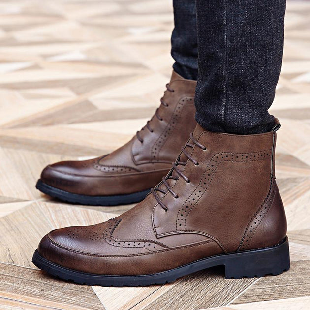Men's Brogue Ankle Boots - TrendSettingFashions