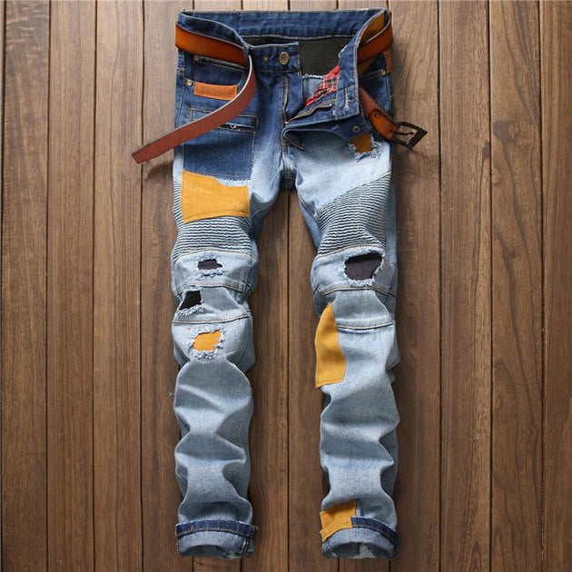 Men's Patchwork Design Denim Jeans - TrendSettingFashions