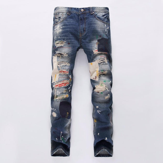 Men's Badge Patchwork Jeans - TrendSettingFashions
